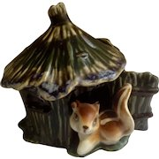 Vintage Squirrel Hut House Planter Ceramic Figurine 1960's