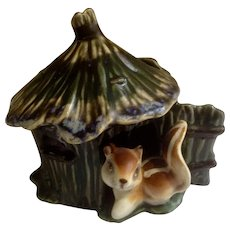 Vintage Squirrel Hut House Planter Ceramic Figurine 1960's