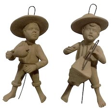 Little Amish Boys Pottery Figurines Handmade Christmas Ornaments or to Just Stand