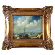 Massop Jr, Painting, Two Boats on the Beach, Flemish Dutch Oil Painting On Board, Signed by Artist