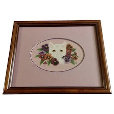 Adorable White Kitty Cat with Flower Pansies Hand Cross Stitched Embroidery Needlepoint Floral Framed Picture
