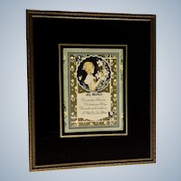 Reverse Glass Mothers Poem 1030's Art Publishing Co. Print Painted Mat in Frame