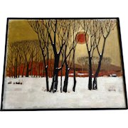 Asian Snow Covered Landscape With Sunset Oil Painting Monogrammed by Artist