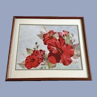 Beaulah M Brunell (Boots) Red Hibiscus Floral Still life Watercolor Painting