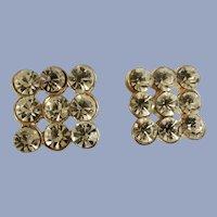 "Pierced Earrings Rhinestone Diamond Square Gold Tone 1/2"""