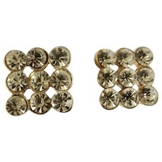 Rhinestone Diamond Square Gold Tone Pierced Earrings 1/2""