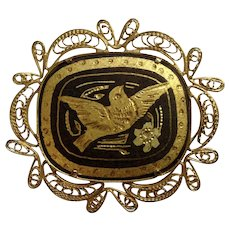 Vintage Damascene Bird and Flowers, Brown and Gold Tone Filagree Brooch Pin Costume Jewelry 1-1/2""