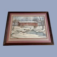 Carl Gilbert Red Covered Bridge Snowy Landscape Watercolor Painting