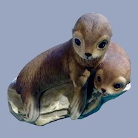 Baby Seal Pups Figurine Masterpiece Porcelain Animal Home 1981