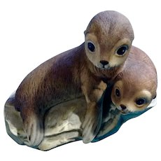 Baby Seal Pups on Rock Masterpiece Porcelain Animal Figurine Home 1981