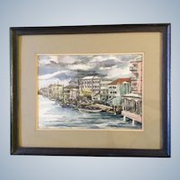 Dorothy Bourne, Painting Wharf Street, Nassau Bahamas Boats in Harbor, Original Watercolor Works on Paper, Signed by Artist,
