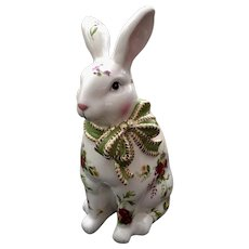 Royal Albert Old Country Roses Large Bunny Rabbit Figurine with Green Bow and Floral Design