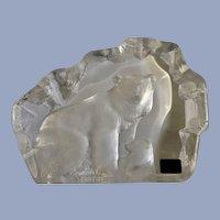 Mats Jonasson Polar Bear with Cub in Full Lead Crystal Glass