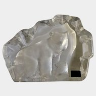 Mats Jonasson Polar Bear with Cub in Full Lead Crystal Glass Signature Collection Signed by Scandinavian Artist