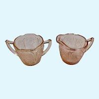 Vintage Pink Depression Glass Creamer & Sugar Bowl Art Deco Floral Motif Design