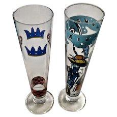 Vintage Ritzenhoff Jan Bazing, Nathalie Du Pasquier Designer Beer Stien Glasses Breweriana