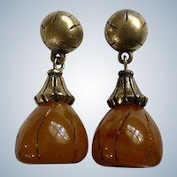 Trifari Earrings Dangling Amber Colored Stud Posts For Pierced Ears Costume Jewelry