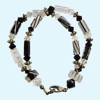 Silver Tone Black & White Crystal Glass Beaded Bracelet Costume Jewelry