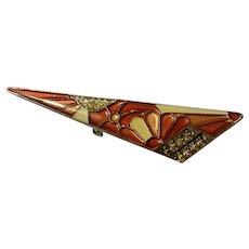 """Enameled Modern Art Brooch Pin Costume Jewelry 2-3/4"""""""