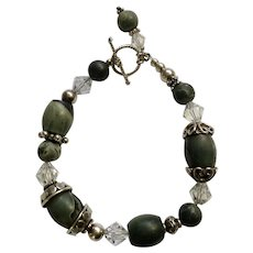 "Dark Granite, Crystal Glass and Silver Tone beaded Bracelet 7-1/4"" Costume Jewelry"