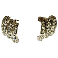 Diamond Crystal Rhinestones in Silver Tone Clip-on Earrings Costume Jewelry