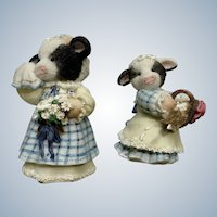 Mary's Moo Moos Milk Maid of Honor and Flour Girl Cow Bridal Party 1995 Figurine Mary Rhyner-Nadig Limited Edition