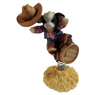 Mary's Moo Moos Your a Barrel of Fun 1998 Cowboy Riding Barrel Figurine Mary Rhyner-Nadig Limited Edition