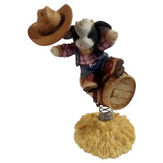 Mary's Moo Moos Your a Barrel of Fun 1998 Cowboy Riding Barrel Figurine Mary Rhyner-Nadig Limited Edition