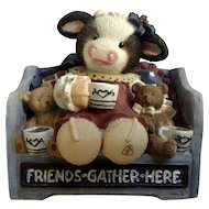 Mary's Moo Moos Friends Gather Here 1999 Cow with Teddy Bears and Coffee Figurine Mary Rhyner-Nadig Limited Edition