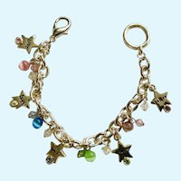 Inspiration Charms Cats Eye Silver-Tone Colored Rhinestone Bracelet