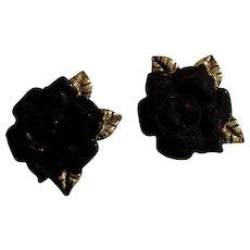 Pretty Black Rose Gold-Tone Leaves Pierced Earrings