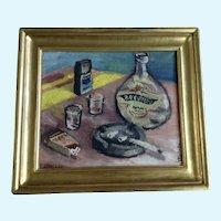 V. Vintr, Impressionist Still Life Table Scene Oil Painting on Canvas