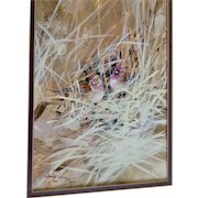 Charles D. Rogers, Watercolor and Oil Painting Birds Hiding in the Tall Grass, Signed by Artist