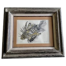 Elly Tepper, Lion Fish Limited Edition Serigraph Print Signed by Honolulu Hawaii Artist