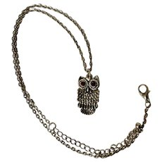 Witty Owl Dark Orange Rhinestone Eyes Silver-Tone Necklace