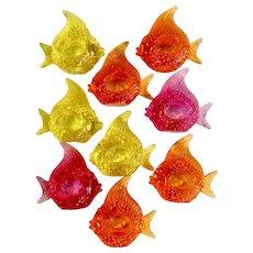 9 Beautiful Tropical Neon Angelfish Heavy Plastic Napkin Fish Holders Made in Taiwan