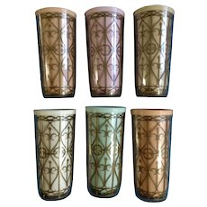 Mid Century Gold Lattice Tumblers Set of 6 Melmac Melamine Dishes Plastic Pastel Cups Hot or Cold Insulated