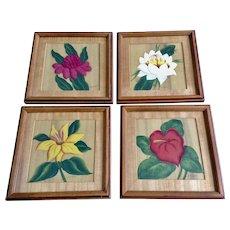Beautiful Vintage Flowers in Frames Floral Tempera Watercolor Paintings Works on Paper Signed by Artist, Danne