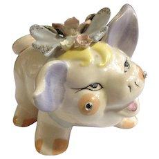 Vintage Lefton's Pink Piggy Bank with Flowers, Blue Bow and Rhinestones Ceramic Pig Animal Figurine