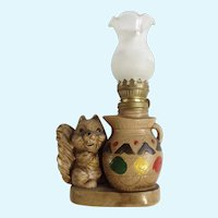 Squirrel Oil Lamp Animal Figurine Lite Sigal S & B Windsor