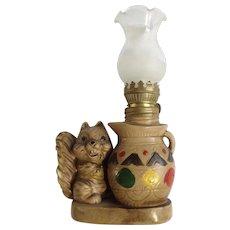 Squirrel Oil Lamp Animal Figurine Lite Sigal S & B Windsor