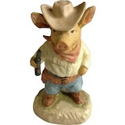 Gunfight at Pig Corral Adorable Little Cowboy Gun Slinger Hand Painted Figurine Enesco 1980