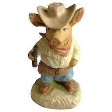 Gunfight at Pig Corral Adorable Little Hog Cowboy Gun Slinger Hand Painted Figurine Enesco 1980