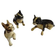 Black and White Boxer Puppy Dog Family Set Bone China Miniatures Animal Figurines Japan