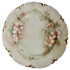 "Hand Painted Haviland Limoges France Rimmed Dinner Plate 9-1/2"" Floral Pink Peach Blossoms Signed Marjorie Bracken"