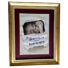 Hoxie Bros Circus Elephants Truck, Watercolor Mixed Media Painting Signed by Artist