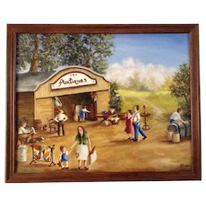Barn Antique Sale with Figural's Looking at Furniture and Items, Oil Painting on Canvas Signed by Artist Shar