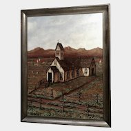 Edwin L Hughes, Southwestern Old Abandoned Church, Acrylic Painting on Canvas Board Signed by Artist