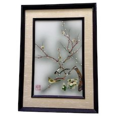 Japanese Iridescent Serigraph Print of Bird on Cherry Blossom Branch Signed with Artist Stamp