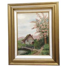Mrs. T. N. Steed, Old Waterwheel at the Fork in the Road, Oil Painting on Board Signed by Artist